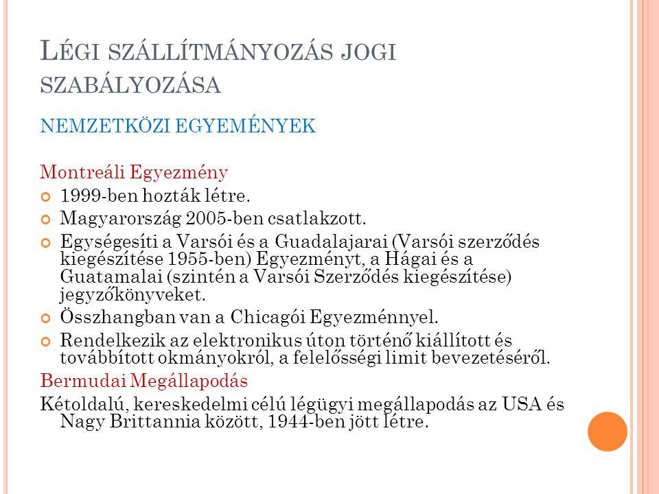L ÉGI SZÁLLÍTMÁNYOZÁS JOGI SZABÁLYOZÁSA NEMZETKÖZI EGYEMÉNYEK Montreáli Egyezmény 1999-ben hozták létre. Magyarország 2005-ben csatlakzott. Egységesít