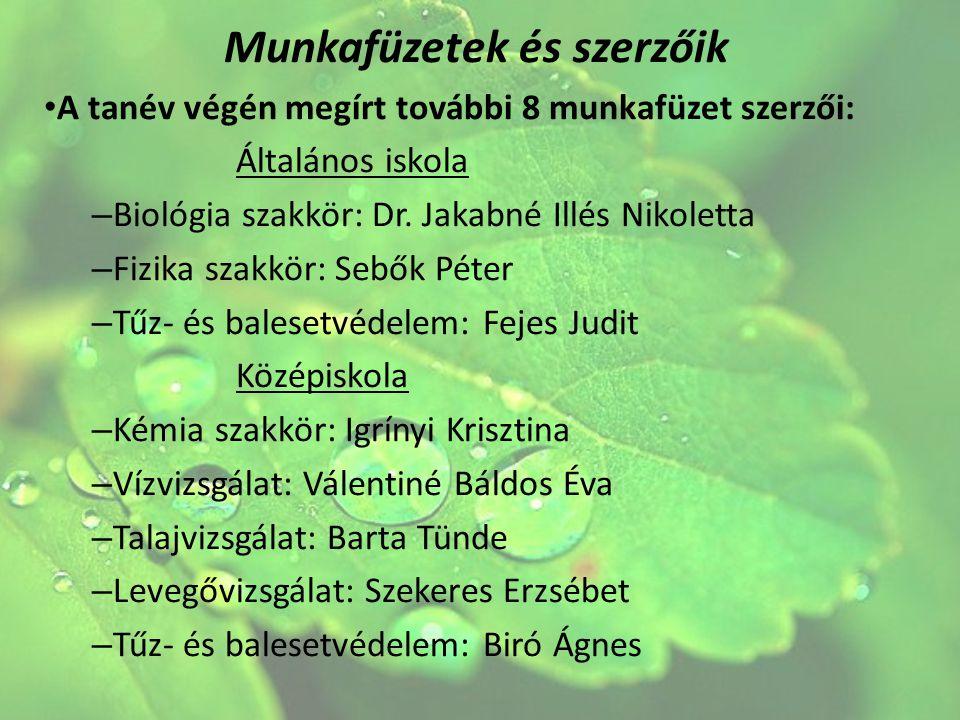 Munkafüzetek és szerzőik A tanév végén megírt további 8 munkafüzet szerzői: Általános iskola – Biológia szakkör: Dr. Jakabné Illés Nikoletta – Fizika