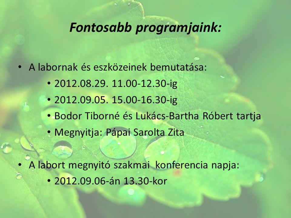 Fontosabb programjaink: A labornak és eszközeinek bemutatása: 2012.08.29. 11.00-12.30-ig 2012.09.05. 15.00-16.30-ig Bodor Tiborné és Lukács-Bartha Rób