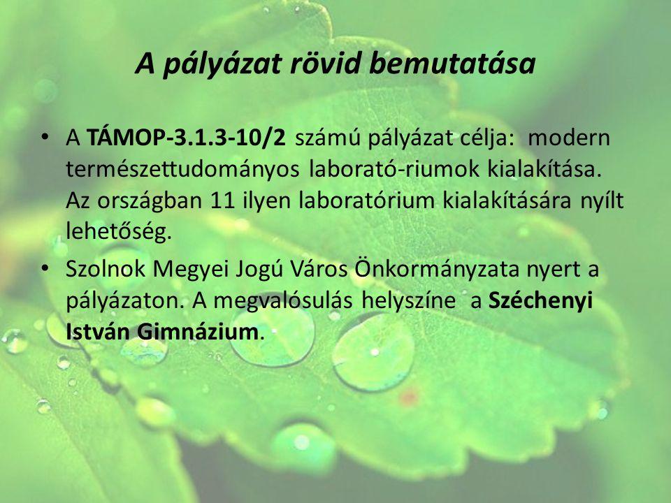 A pályázat rövid bemutatása A TÁMOP-3.1.3-10/2 számú pályázat célja: modern természettudományos laborató-riumok kialakítása. Az országban 11 ilyen lab