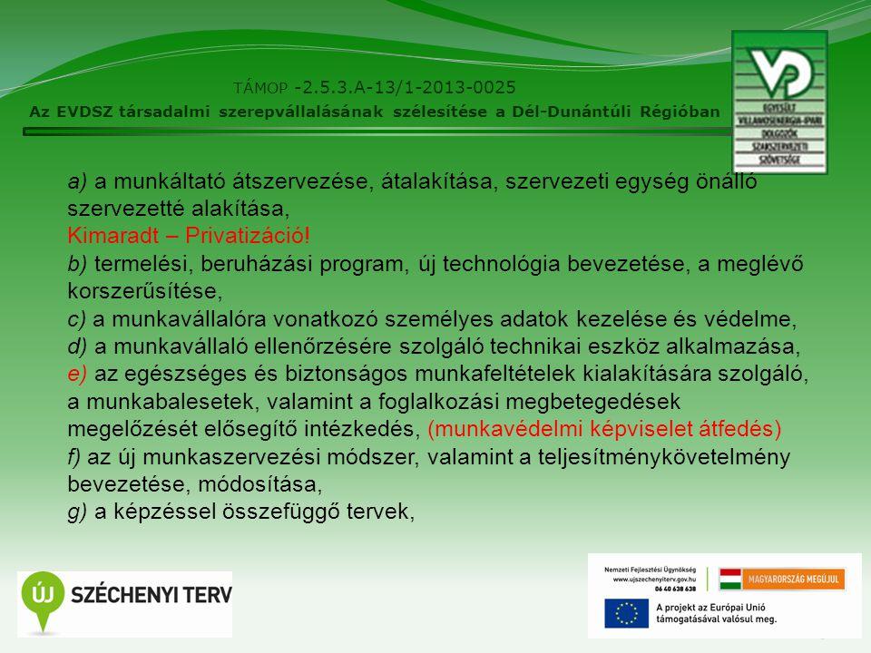 13 TÁMOP -2.5.3.A-13/1-2013-0025 Az EVDSZ társadalmi szerepvállalásának szélesítése a Dél-Dunántúli Régióban a) a munkáltató átszervezése, átalakítása, szervezeti egység önálló szervezetté alakítása, Kimaradt – Privatizáció.