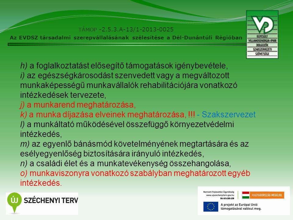 14 TÁMOP -2.5.3.A-13/1-2013-0025 Az EVDSZ társadalmi szerepvállalásának szélesítése a Dél-Dunántúli Régióban h) a foglalkoztatást elősegítő támogatások igénybevétele, i) az egészségkárosodást szenvedett vagy a megváltozott munkaképességű munkavállalók rehabilitációjára vonatkozó intézkedések tervezete, j) a munkarend meghatározása, k) a munka díjazása elveinek meghatározása, !!.