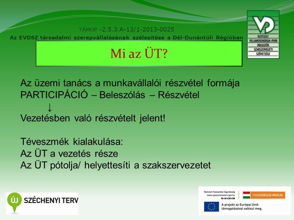 2 TÁMOP -2.5.3.A-13/1-2013-0025 Az EVDSZ társadalmi szerepvállalásának szélesítése a Dél-Dunántúli Régióban Mi az ÜT? Az üzemi tanács a munkavállalói