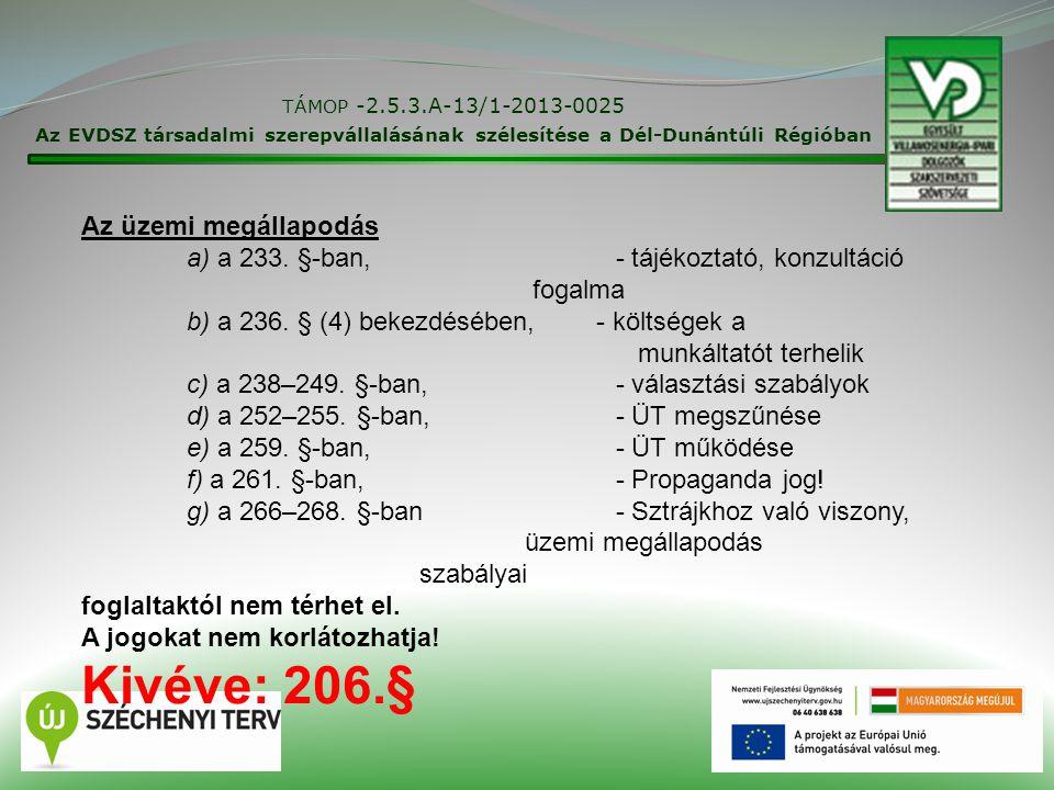 TÁMOP -2.5.3.A-13/1-2013-0025 Az EVDSZ társadalmi szerepvállalásának szélesítése a Dél-Dunántúli Régióban 20 Az üzemi megállapodás a) a 233. §-ban, -
