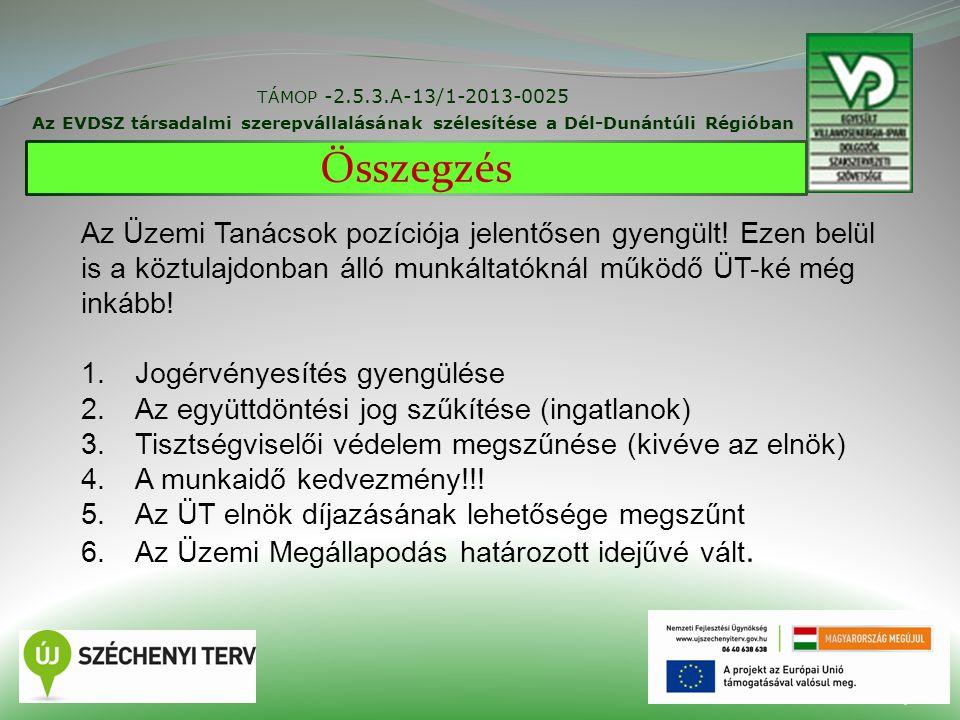 29 TÁMOP -2.5.3.A-13/1-2013-0025 Az EVDSZ társadalmi szerepvállalásának szélesítése a Dél-Dunántúli Régióban Összegzés Az Üzemi Tanácsok pozíciója jelentősen gyengült.