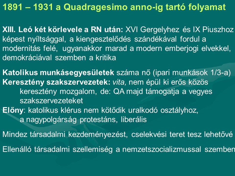 1891 – 1931 a Quadragesimo anno-ig tartó folyamat XIII.