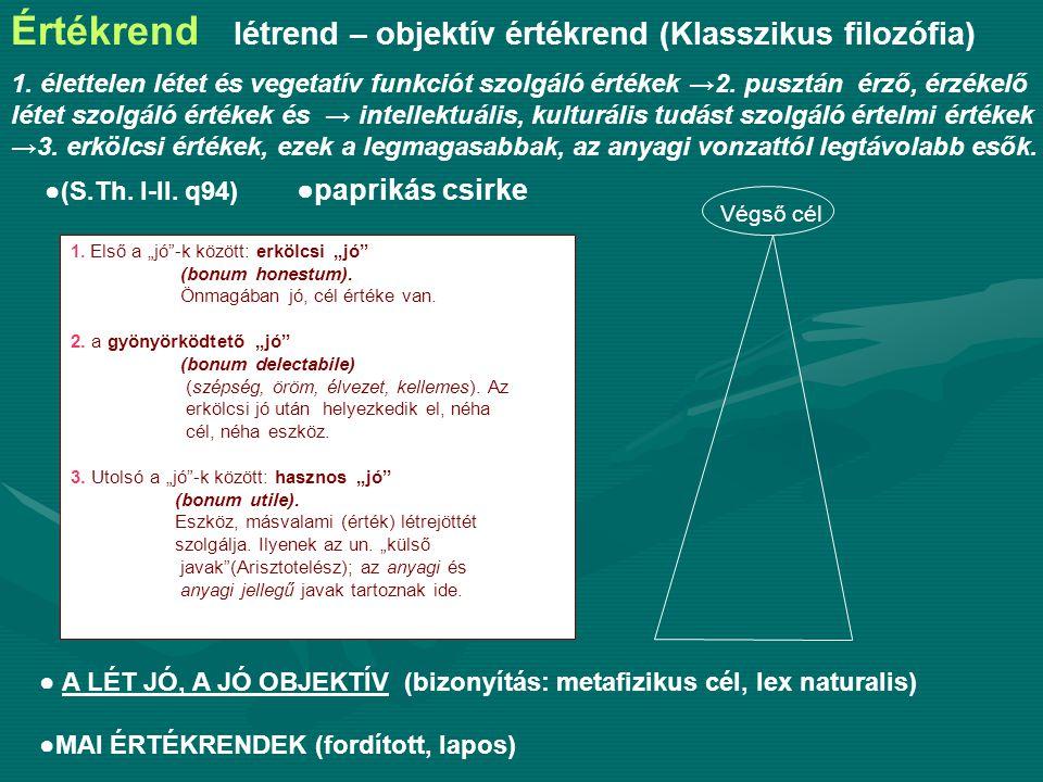 Értékrend létrend – objektív értékrend (Klasszikus filozófia) 1.