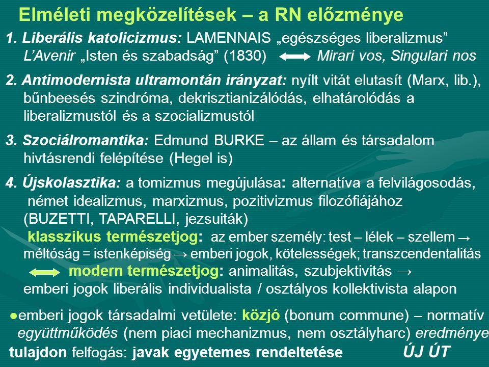Elméleti megközelítések – a RN előzménye 1870-80-as évek: polarizálódás Szociálromantikus irányzat: Bécs, VOGELSANG - hivatásrendek, parlamenti rendi kamarai rendszerrel erősítve - versenykorlátozás: kartellek, áregyeztetések - szövetkezetek - nagyipar egy kartellbe, ezen belül közös tulajdon, munkástulajdon, munkás beleszólási joga Szociálrealista irányzat: a modern gazdaság, politika, társ.