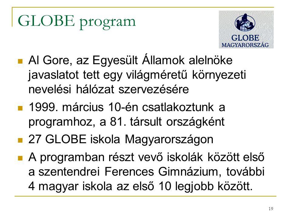 19 GLOBE program Al Gore, az Egyesült Államok alelnöke javaslatot tett egy világméretű környezeti nevelési hálózat szervezésére 1999. március 10-én cs