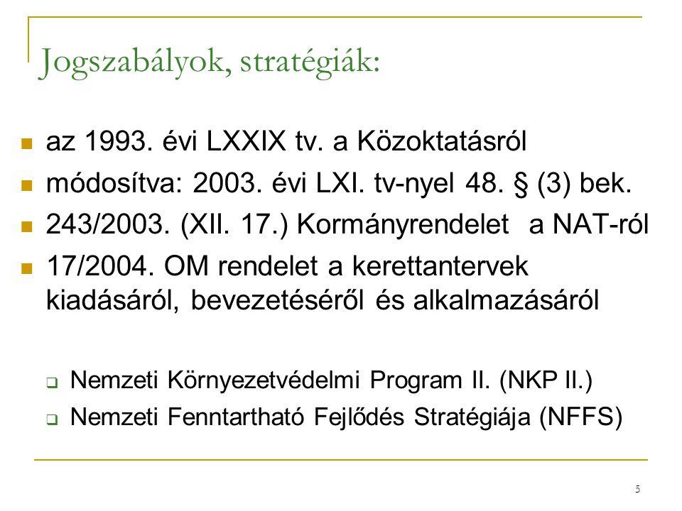 5 Jogszabályok, stratégiák: az 1993. évi LXXIX tv. a Közoktatásról módosítva: 2003. évi LXI. tv-nyel 48. § (3) bek. 243/2003. (XII. 17.) Kormányrendel