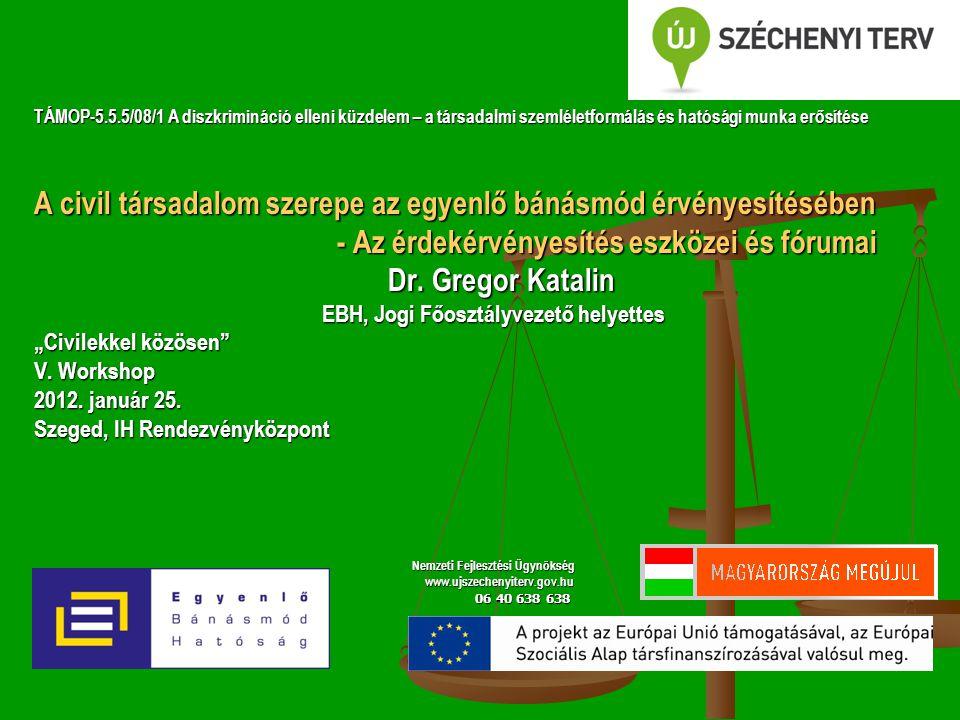 TÁMOP-5.5.5/08/1 A diszkrimináció elleni küzdelem – a társadalmi szemléletformálás és hatósági munka erősítése A civil társadalom szerepe az egyenlő bánásmód érvényesítésében - Az érdekérvényesítés eszközei és fórumai - Az érdekérvényesítés eszközei és fórumai Dr.