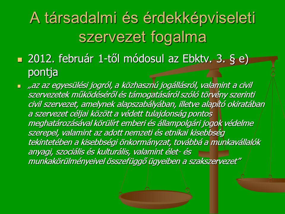 A társadalmi és érdekképviseleti szervezet fogalma 2012.