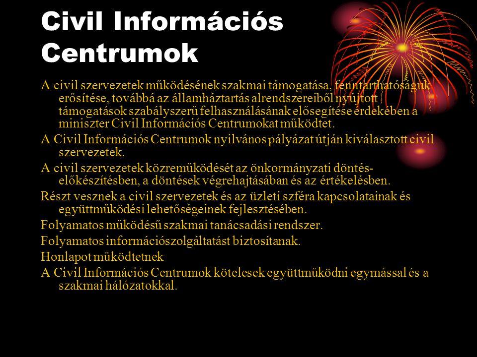 Civil Információs Centrumok A civil szervezetek működésének szakmai támogatása, fenntarthatóságuk erősítése, továbbá az államháztartás alrendszereiből nyújtott támogatások szabályszerű felhasználásának elősegítése érdekében a miniszter Civil Információs Centrumokat működtet.