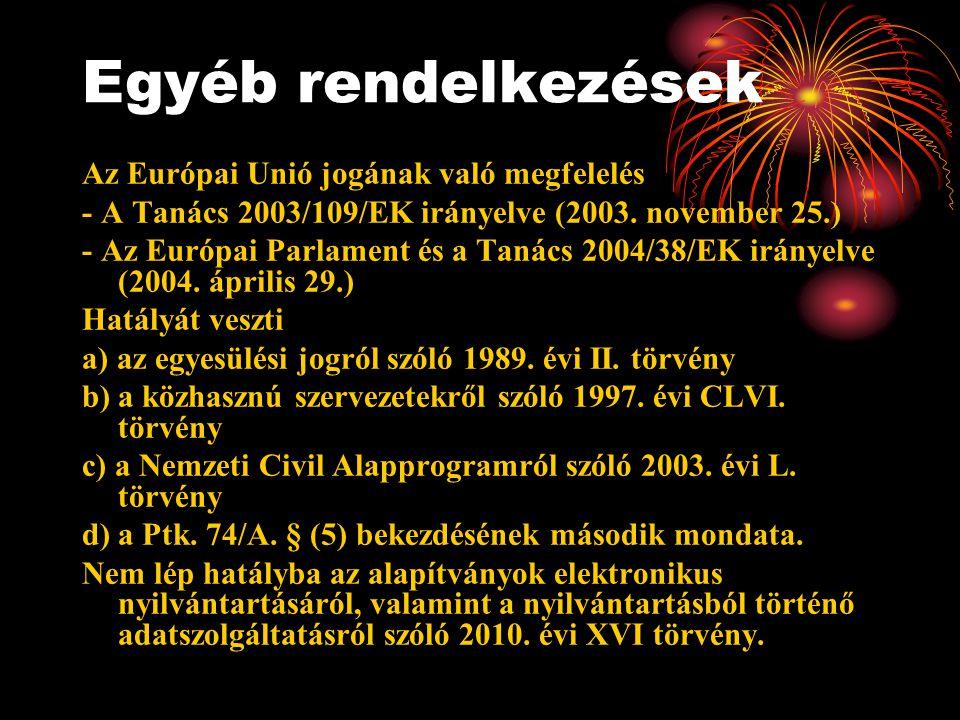Egyéb rendelkezések Az Európai Unió jogának való megfelelés - A Tanács 2003/109/EK irányelve (2003. november 25.) - Az Európai Parlament és a Tanács 2