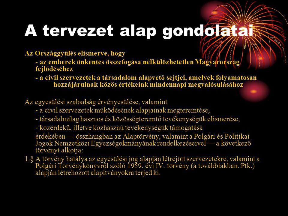 A tervezet alap gondolatai Az Országgyűlés elismerve, hogy - az emberek önkéntes összefogása nélkülözhetetlen Magyarország fejlődéséhez - a civil szervezetek a társadalom alapvető sejtjei, amelyek folyamatosan hozzájárulnak közös értékeink mindennapi megvalósulásához Az egyesülési szabadság érvényesülése, valamint - a civil szervezetek működésének alapjainak megteremtése, - társadalmilag hasznos és közösségteremtő tevékenységük elismerése, - közérdekű, illetve közhasznú tevékenységük támogatása érdekében — összhangban az Alaptörvény, valamint a Polgári és Politikai Jogok Nemzetközi Egyezségokmányának rendelkezéseivel — a következő törvényt alkotja: 1.§ A törvény hatálya az egyesülési jog alapján létrejött szervezetekre, valamint a Polgári Törvénykönyvről szóló 1959.