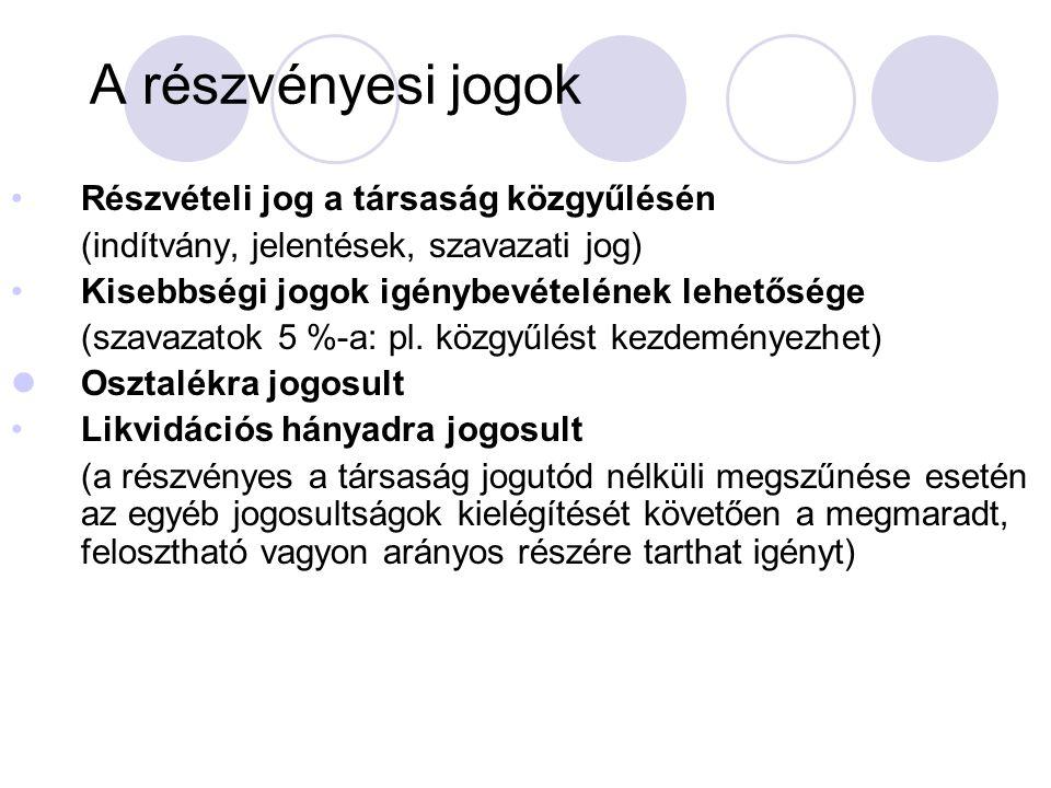 A részvényesi jogok Részvételi jog a társaság közgyűlésén (indítvány, jelentések, szavazati jog) Kisebbségi jogok igénybevételének lehetősége (szavazatok 5 %-a: pl.