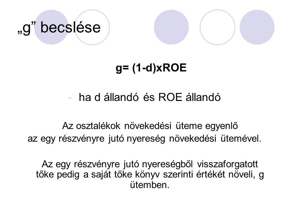 """""""g"""" becslése g= (1-d)xROE -ha d állandó és ROE állandó Az osztalékok növekedési üteme egyenlő az egy részvényre jutó nyereség növekedési ütemével. Az"""
