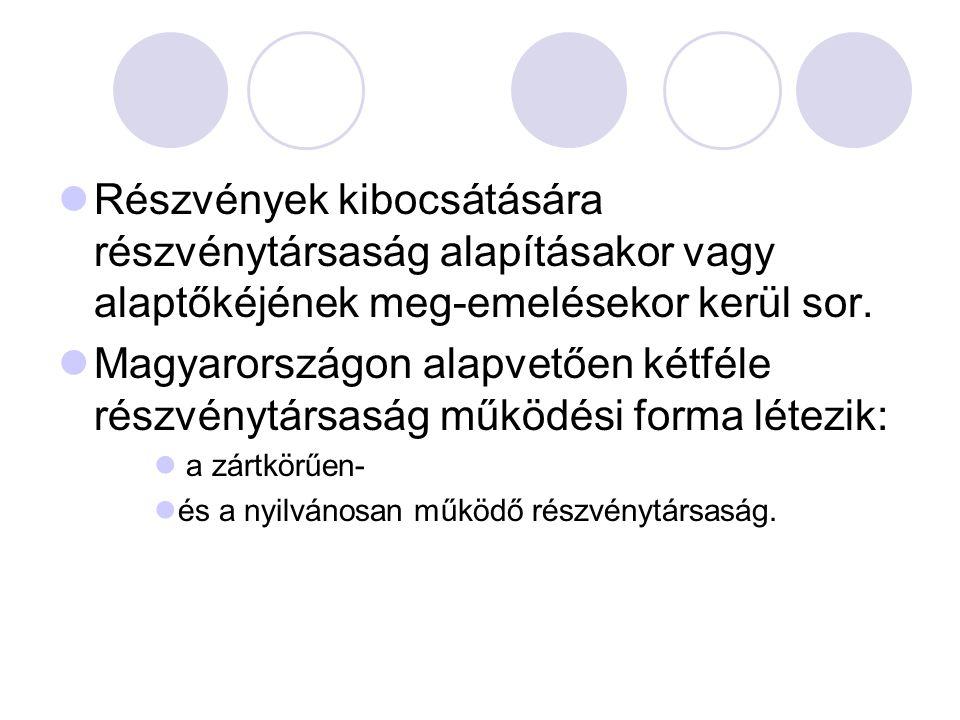 Részvények kibocsátására részvénytársaság alapításakor vagy alaptőkéjének meg-emelésekor kerül sor. Magyarországon alapvetően kétféle részvénytársaság