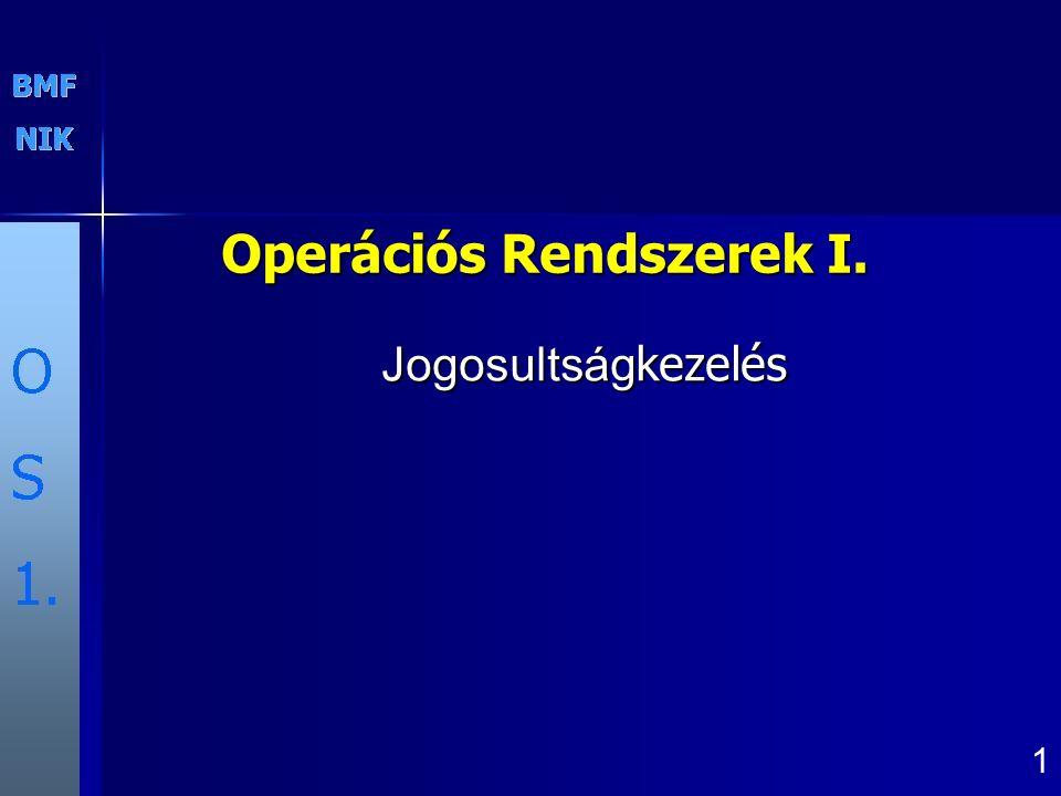 Operációs Rendszerek I. 1 Jogosultság kezelés