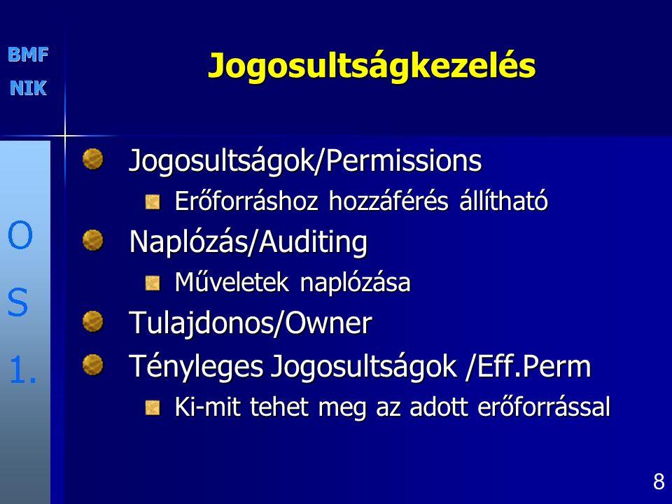 8 Jogosultságkezelés Jogosultságok/Permissions Erőforráshoz hozzáférés állítható Naplózás/Auditing Műveletek naplózása Tulajdonos/Owner Tényleges Jogo
