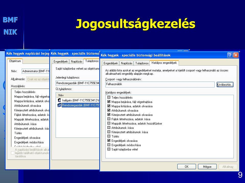 Jogosultságkezelés parancssorból cacls: Minden windows XP része, korlátozott használhatósággal xcacls: Resource kitben található 20