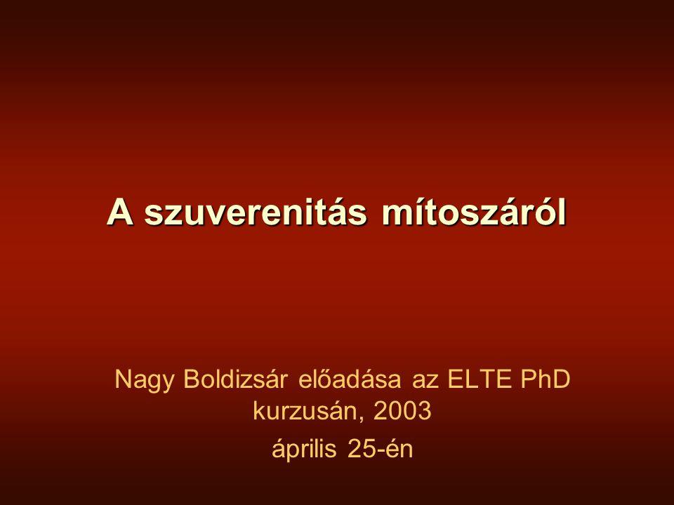 A szuverenitás mítoszáról Nagy Boldizsár előadása az ELTE PhD kurzusán, 2003 április 25-én