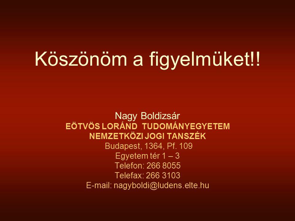 Köszönöm a figyelmüket!! Nagy Boldizsár EÖTVÖS LORÁND TUDOMÁNYEGYETEM NEMZETKÖZI JOGI TANSZÉK Budapest, 1364, Pf. 109 Egyetem tér 1 – 3 Telefon: 266 8