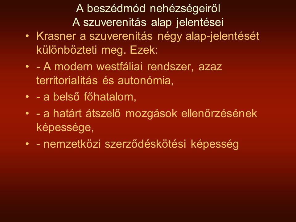 A beszédmód nehézségeiről A szuverenitás alap jelentései Krasner a szuverenitás négy alap-jelentését különbözteti meg. Ezek: - A modern westfáliai ren