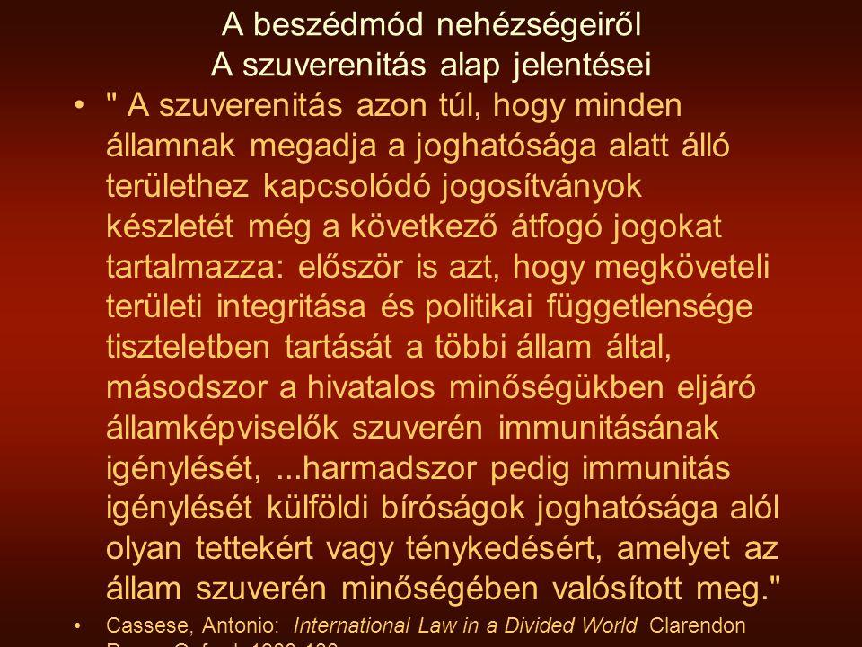 A beszédmód nehézségeiről A szuverenitás alap jelentései