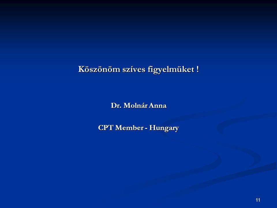 11 Köszönöm szíves figyelmüket ! Dr. Molnár Anna CPT Member - Hungary