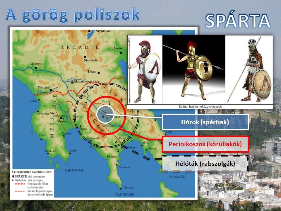 Dórok (spártiak) Perioikoszok (körüllakók) Hélóták (rabszolgák)