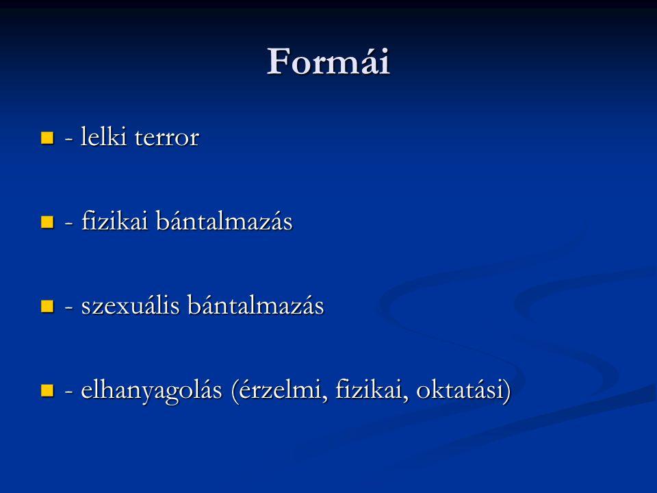 Formái - lelki terror - lelki terror - fizikai bántalmazás - fizikai bántalmazás - szexuális bántalmazás - szexuális bántalmazás - elhanyagolás (érzel