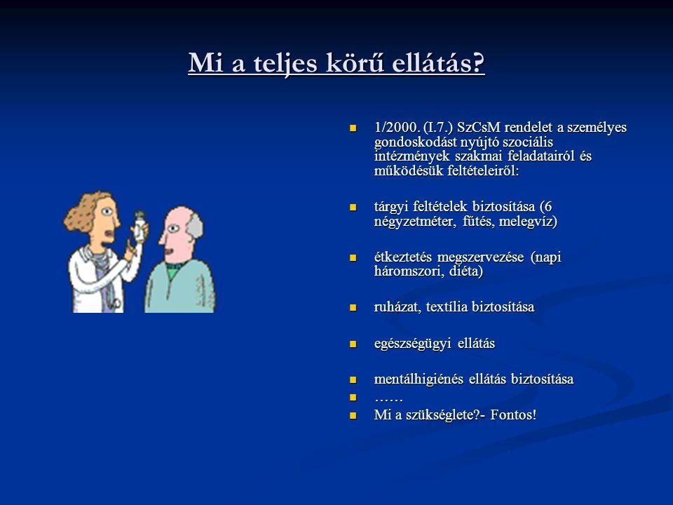 Mi a teljes körű ellátás? 1/2000. (I.7.) SzCsM rendelet a személyes gondoskodást nyújtó szociális intézmények szakmai feladatairól és működésük feltét