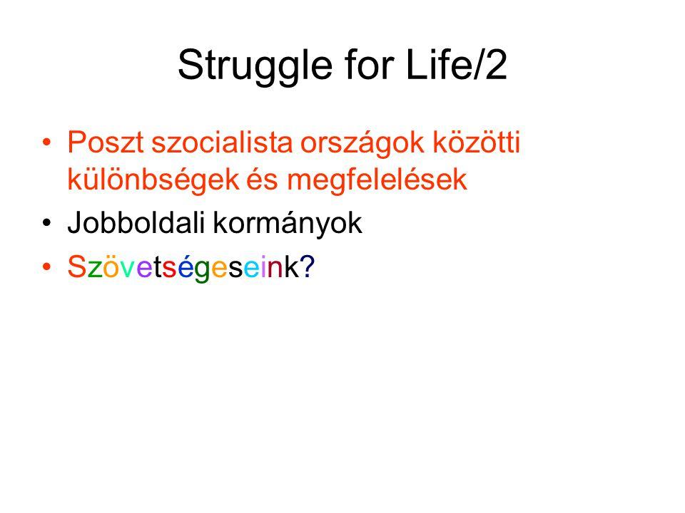 Struggle for Life/2 Poszt szocialista országok közötti különbségek és megfelelések Jobboldali kormányok Szövetségeseink