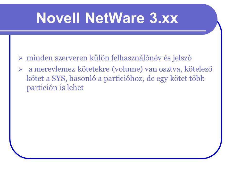 Novell NetWare 3.xx  minden szerveren külön felhasználónév és jelszó  a merevlemez kötetekre (volume) van osztva, kötelező kötet a SYS, hasonló a pa