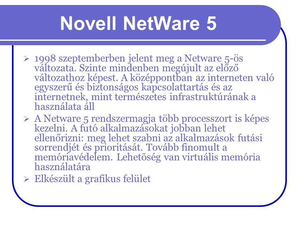 Novell NetWare 5  1998 szeptemberben jelent meg a Netware 5-ös változata. Szinte mindenben megújult az előző változathoz képest. A középpontban az in