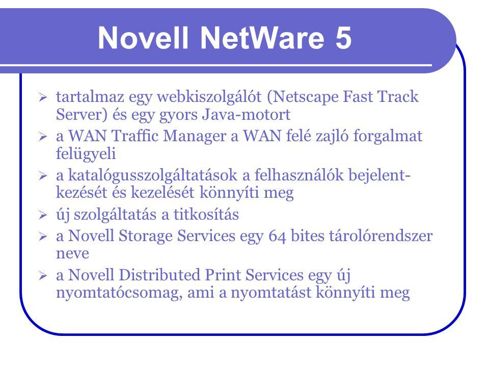Novell NetWare 5  tartalmaz egy webkiszolgálót (Netscape Fast Track Server) és egy gyors Java-motort  a WAN Traffic Manager a WAN felé zajló forgalm