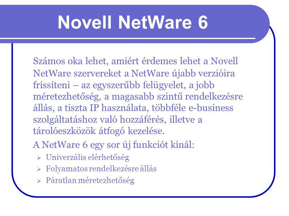 Novell NetWare 6 Számos oka lehet, amiért érdemes lehet a Novell NetWare szervereket a NetWare újabb verzióira frissíteni – az egyszerűbb felügyelet,