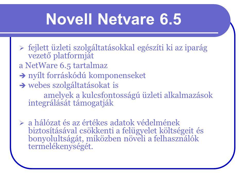 Novell Netvare 6.5  fejlett üzleti szolgáltatásokkal egészíti ki az iparág vezető platformját a NetWare 6.5 tartalmaz  nyílt forráskódú komponenseke