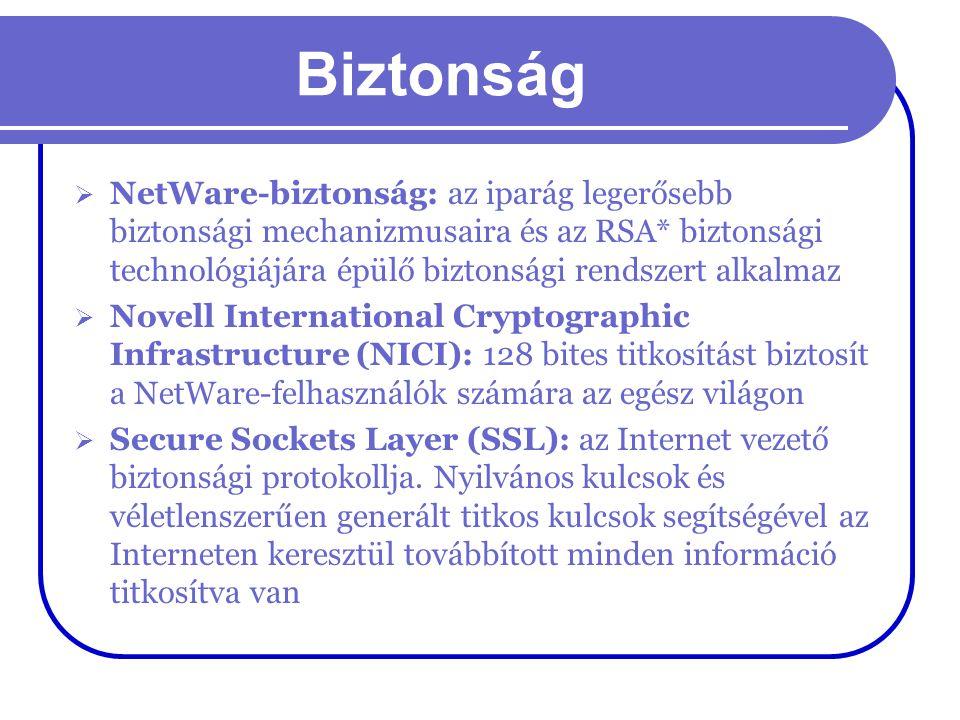 Biztonság  NetWare-biztonság: az iparág legerősebb biztonsági mechanizmusaira és az RSA* biztonsági technológiájára épülő biztonsági rendszert alkalm