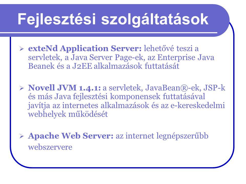 Fejlesztési szolgáltatások  exteNd Application Server: lehetővé teszi a servletek, a Java Server Page-ek, az Enterprise Java Beanek és a J2EE alkalma