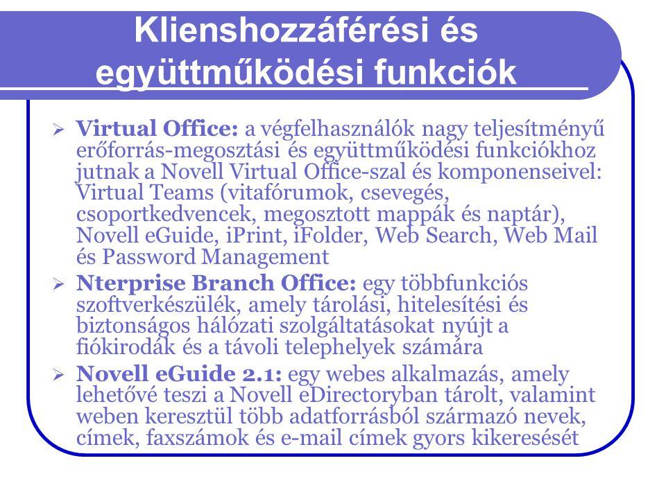 Klienshozzáférési és együttműködési funkciók  Virtual Office: a végfelhasználók nagy teljesítményű erőforrás-megosztási és együttműködési funkciókhoz