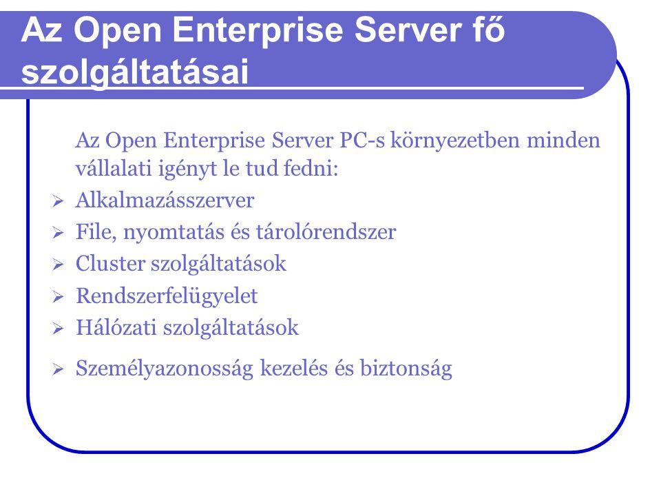 Az Open Enterprise Server fő szolgáltatásai Az Open Enterprise Server PC-s környezetben minden vállalati igényt le tud fedni:  Alkalmazásszerver  Fi