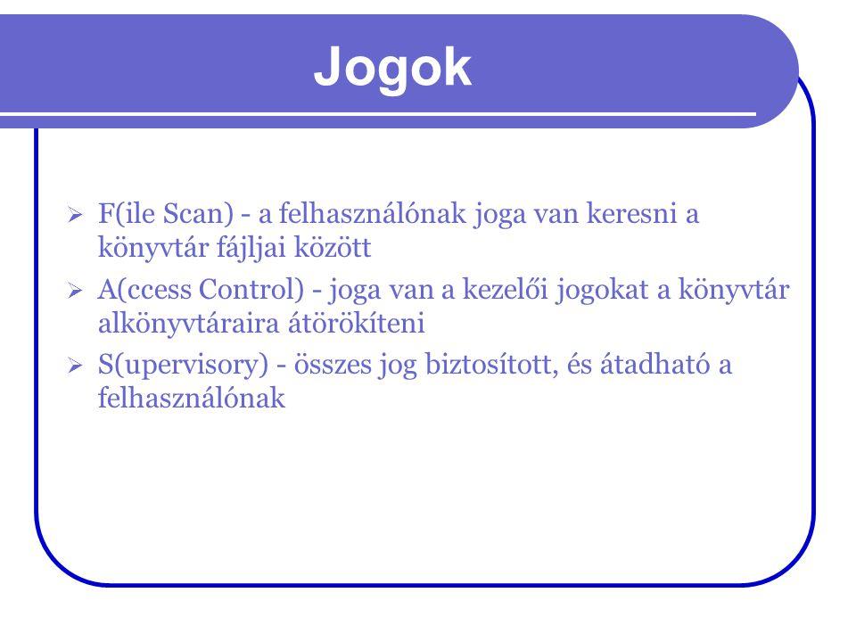 Jogok  F(ile Scan) - a felhasználónak joga van keresni a könyvtár fájljai között  A(ccess Control) - joga van a kezelői jogokat a könyvtár alkönyvtá