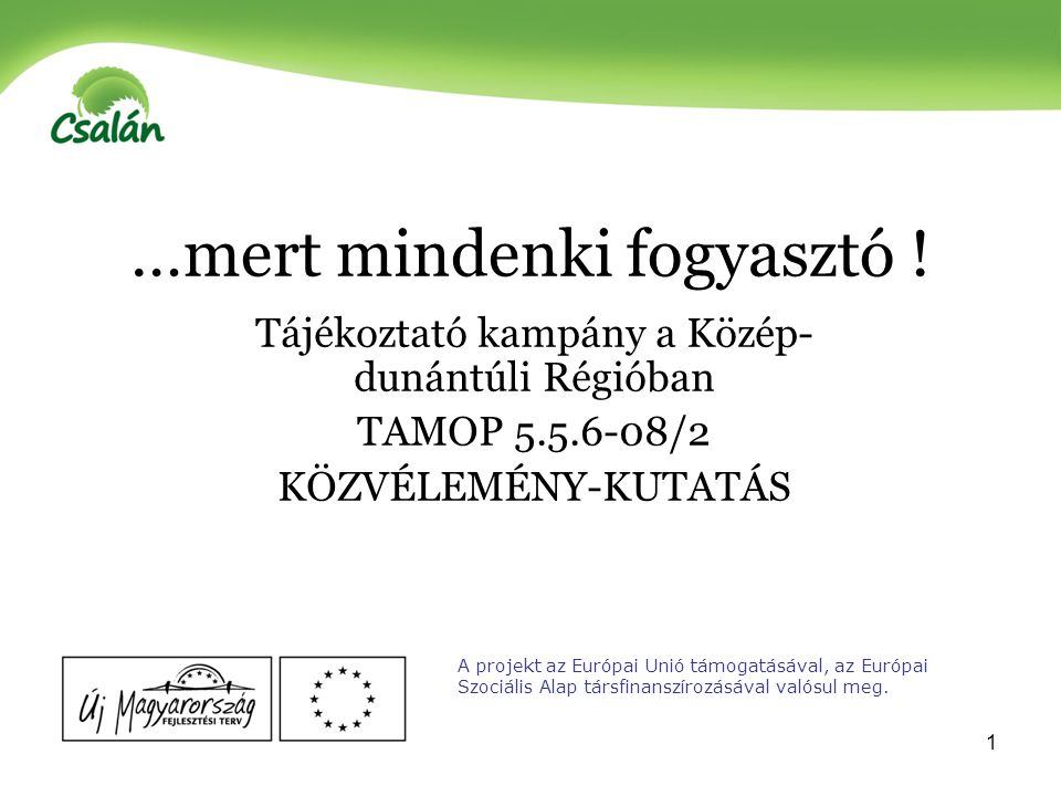 2 Fogyasztói társadalom problémáinak feltárása közvéleménykutatás témavizsgálat fogyasztóvédelmi rendezvények A projekt az Európai Unió támogatásával, az Európai Szociális Alap társfinanszírozásával valósul meg.
