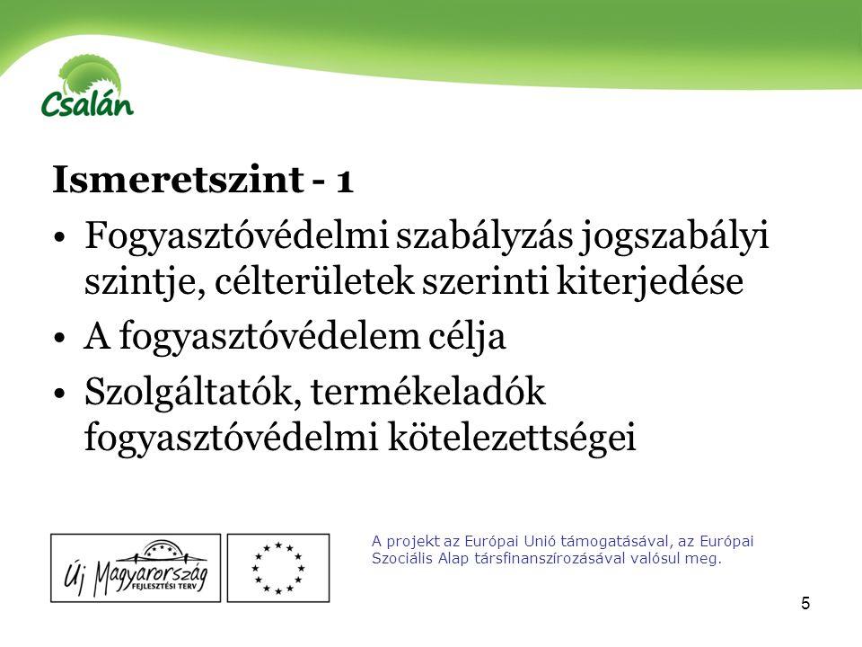 6 Ismeretszint -2 Panasztételi lehetőségek és ezek módjai Fogyasztóvédelmi szervezetek munkájának, tevékenységének ismerete A projekt az Európai Unió támogatásával, az Európai Szociális Alap társfinanszírozásával valósul meg.