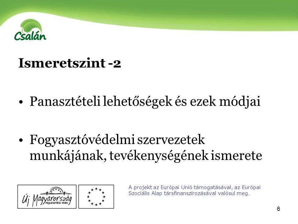7 Fogyasztói érdekvédelmi aktivitás Fogyasztóvédelmi jogok és lehetőségek érvényesítése Konkrét fogyasztói panasztétel Fogyasztóvédelmi kérdésekkel kapcsolatos problematikus és kevésbé problematikus területek A projekt az Európai Unió támogatásával, az Európai Szociális Alap társfinanszírozásával valósul meg.