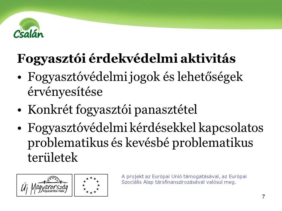 8 Ökológiai fogyasztóvédelem Termékek, szolgáltatásuk, áruk minősége, ára, származási helyének fontossága Vásárlástudatosság Vásárlási technikák Vásárlási befolyásolhatóság A projekt az Európai Unió támogatásával, az Európai Szociális Alap társfinanszírozásával valósul meg.