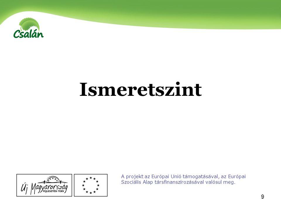 10 A projekt az Európai Unió támogatásával, az Európai Szociális Alap társfinanszírozásával valósul meg.