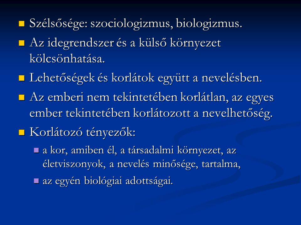 Szélsősége: szociologizmus, biologizmus. Szélsősége: szociologizmus, biologizmus. Az idegrendszer és a külső környezet kölcsönhatása. Az idegrendszer